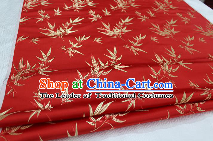Chinese Traditional Palace Bamboo Pattern Tang Suit Cheongsam Red Brocade Fabric, Chinese Ancient Costume Hanfu Material