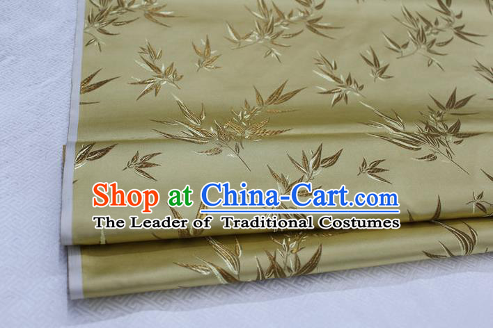 Chinese Traditional Palace Bamboo Pattern Tang Suit Cheongsam Light Golden Brocade Fabric, Chinese Ancient Costume Hanfu Material
