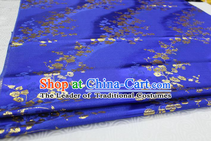 Chinese Traditional Palace Wintersweet Pattern Cheongsam Blue Brocade Fabric, Chinese Ancient Costume Tang Suit Hanfu Satin Material
