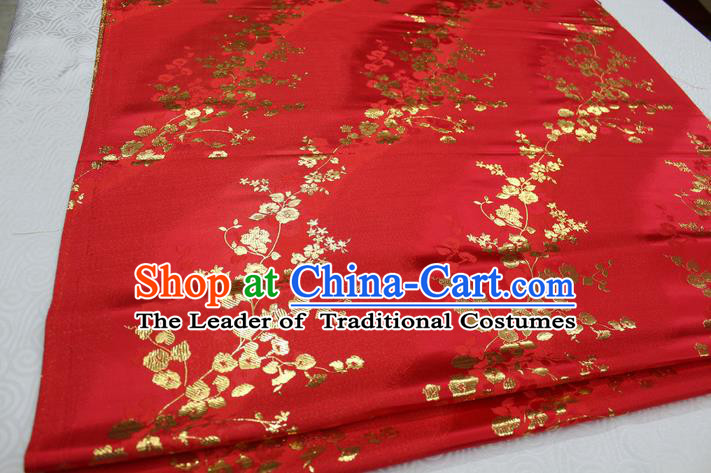 Chinese Traditional Palace Wintersweet Pattern Cheongsam Red Brocade Fabric, Chinese Ancient Costume Tang Suit Hanfu Satin Material