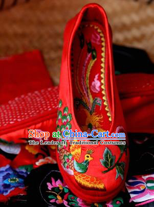 Traditional Chinese Ancient Princess Red Cloth Shoes Embroidered Shoes, China Handmade Embroidery Peony Hanfu Shoes for Women