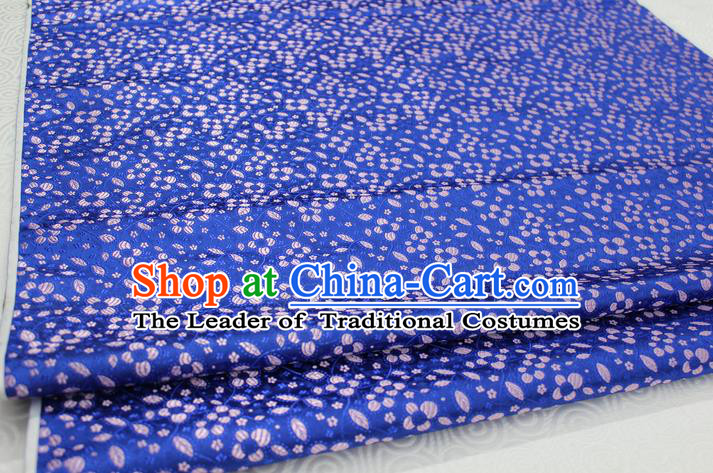 Chinese Traditional Ancient Costume Palace Flowers Pattern Cheongsam Blue Brocade Tang Suit Fabric Hanfu Material