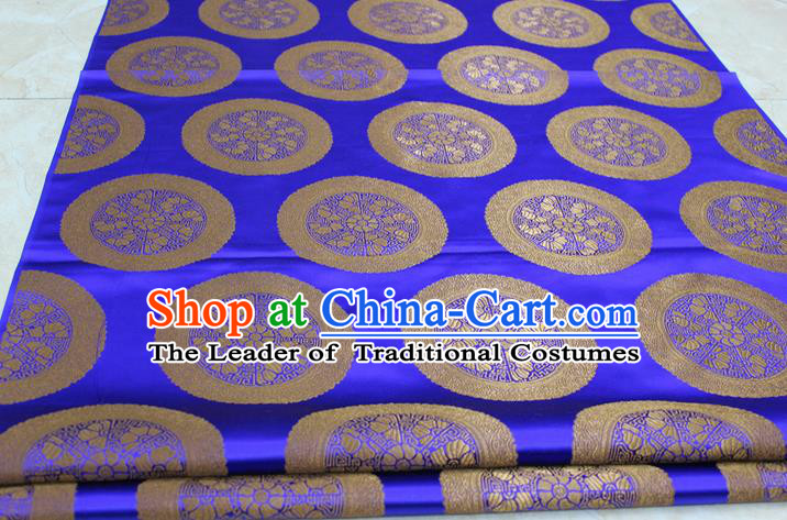 Chinese Traditional Ancient Costume Palace Flowers Pattern Mongolian Robe Royalblue Brocade Tang Suit Fabric Hanfu Material