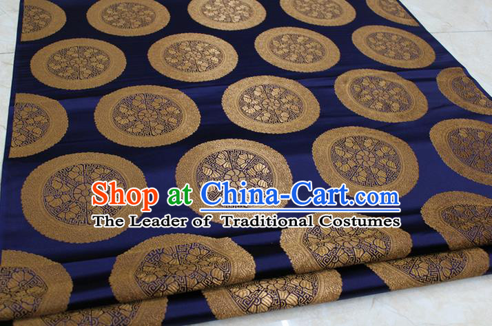 Chinese Traditional Ancient Costume Palace Pattern Mongolian Robe Navy Brocade Tang Suit Fabric Hanfu Material