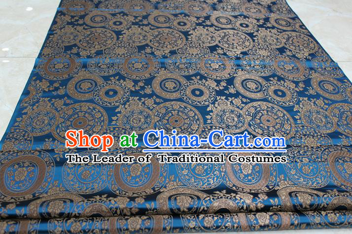 Chinese Traditional Ancient Costume Palace Peony Pattern Mongolian Robe Blue Brocade Tang Suit Fabric Hanfu Material