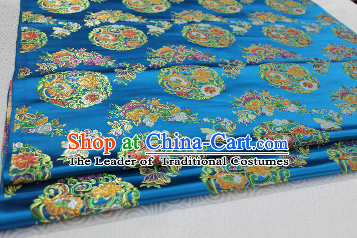 Chinese Traditional Ancient Costume Palace Round Peony Pattern Mongolian Robe Blue Nanjing Brocade Tang Suit Fabric Hanfu Material