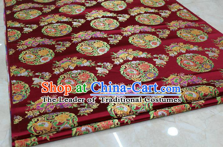 Chinese Traditional Ancient Costume Palace Round Peony Pattern Mongolian Robe Wine Red Nanjing Brocade Tang Suit Fabric Hanfu Material