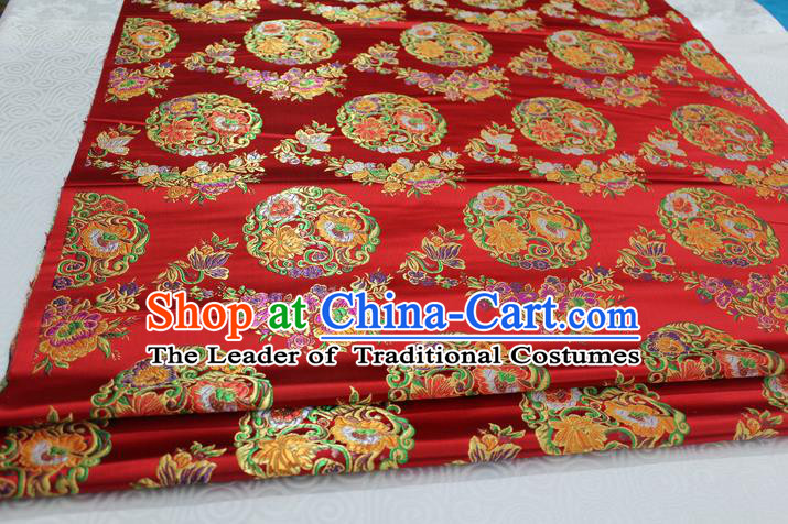Chinese Traditional Ancient Costume Palace Round Peony Pattern Mongolian Robe Red Nanjing Brocade Tang Suit Fabric Hanfu Material