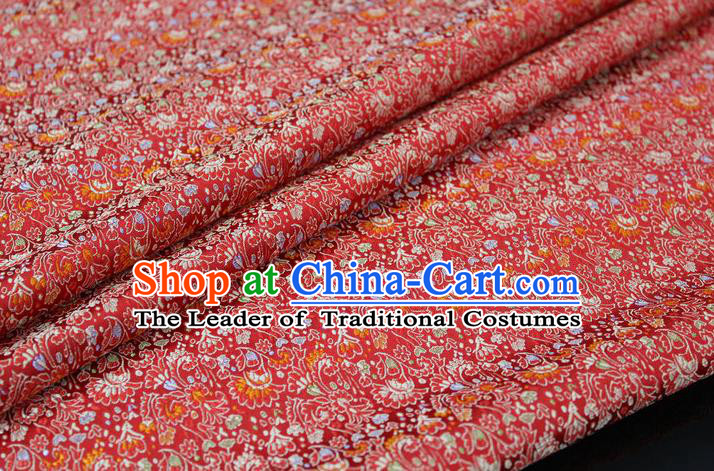 Chinese Traditional Ancient Costume Palace Cockscomb Pattern Mongolian Robe Cheongsam Red Brocade Tang Suit Fabric Hanfu Material