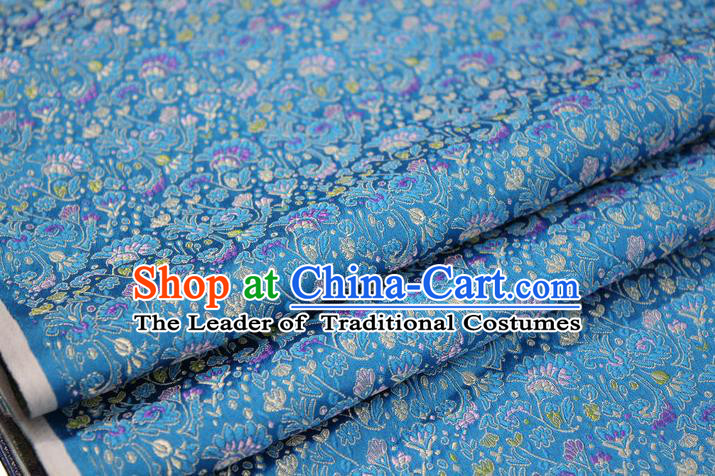 Chinese Traditional Ancient Costume Palace Cockscomb Pattern Mongolian Robe Cheongsam Blue Brocade Tang Suit Fabric Hanfu Material