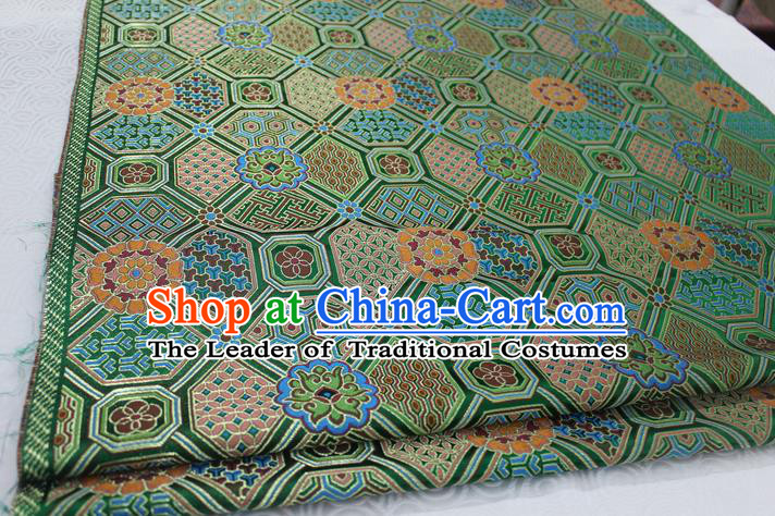 Chinese Traditional Ancient Costume Palace Pattern Mongolian Robe Green Brocade Tang Suit Fabric Hanfu Material