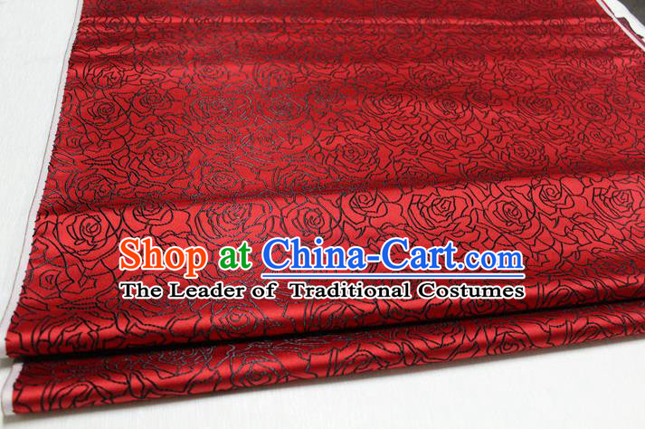 Chinese Traditional Ancient Costume Palace Rose Pattern Cheongsam Dark Red Brocade Tang Suit Fabric Hanfu Material