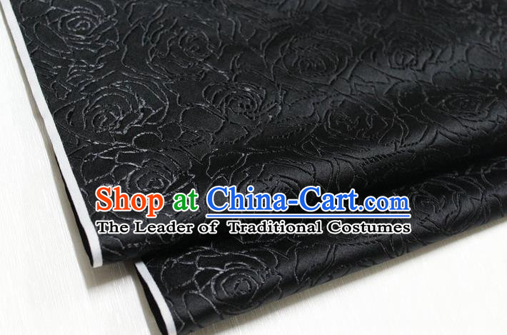 Chinese Traditional Ancient Costume Palace Rose Pattern Cheongsam Black Brocade Tang Suit Fabric Hanfu Material
