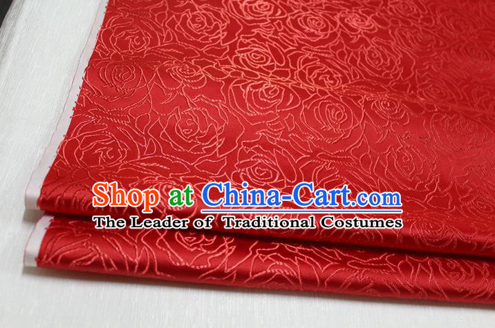 Chinese Traditional Ancient Costume Palace Rose Pattern Cheongsam Red Brocade Tang Suit Fabric Hanfu Material