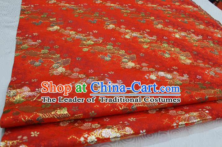 Chinese Traditional Ancient Costume Palace Pattern Cheongsam Red Brocade Tang Suit Fabric Hanfu Material