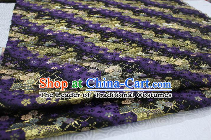 Chinese Traditional Ancient Costume Palace Pattern Cheongsam Purple Brocade Tang Suit Fabric Hanfu Material