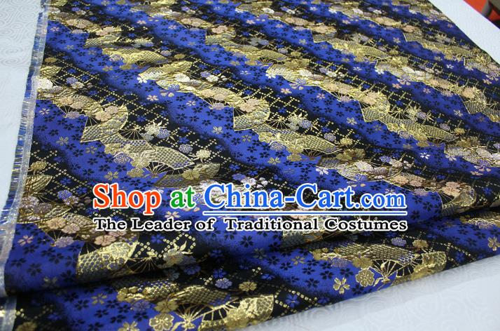 Chinese Traditional Ancient Costume Palace Pattern Cheongsam Blue Brocade Tang Suit Fabric Hanfu Material