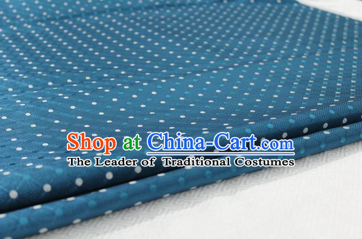 Chinese Traditional Ancient Costume Palace Pattern Mongolian Robe Cheongsam Peacock Blue Brocade Tang Suit Fabric Hanfu Material
