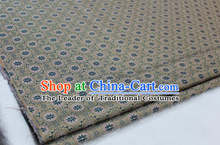 Chinese Traditional Ancient Costume Palace Pattern Mongolian Robe Beige Brocade Tang Suit Fabric Hanfu Material