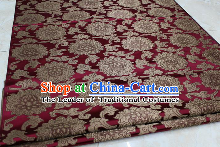 Chinese Traditional Ancient Costume Palace Lotus Pattern Mongolian Robe Wine Red Brocade Tang Suit Fabric Hanfu Material
