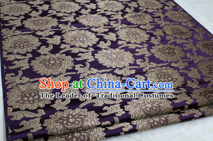 Chinese Traditional Ancient Costume Palace Lotus Pattern Mongolian Robe Purple Brocade Tang Suit Fabric Hanfu Material