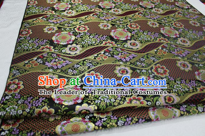 Chinese Traditional Ancient Costume Palace Flowers Pattern Mongolian Robe Kimono Black Brocade Tang Suit Fabric Hanfu Material