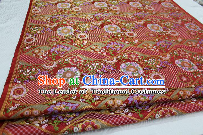 Chinese Traditional Ancient Costume Palace Flowers Pattern Mongolian Robe Kimono Red Brocade Tang Suit Fabric Hanfu Material