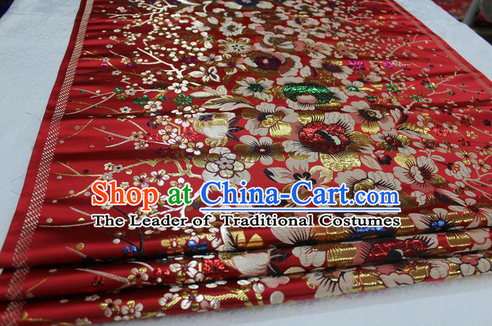 Chinese Traditional Ancient Costume Palace Flowers Pattern Mongolian Robe Cheongsam Red Brocade Tang Suit Fabric Hanfu Material