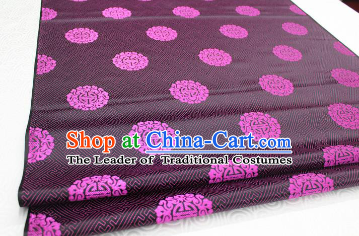 Chinese Traditional Ancient Costume Palace Rosy Longevity Pattern Cheongsam Mongolian Robe Black Brocade Tang Suit Fabric Hanfu Material