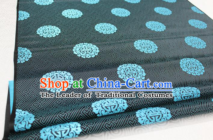 Chinese Traditional Ancient Costume Palace Blue Longevity Pattern Cheongsam Mongolian Robe Black Brocade Tang Suit Fabric Hanfu Material