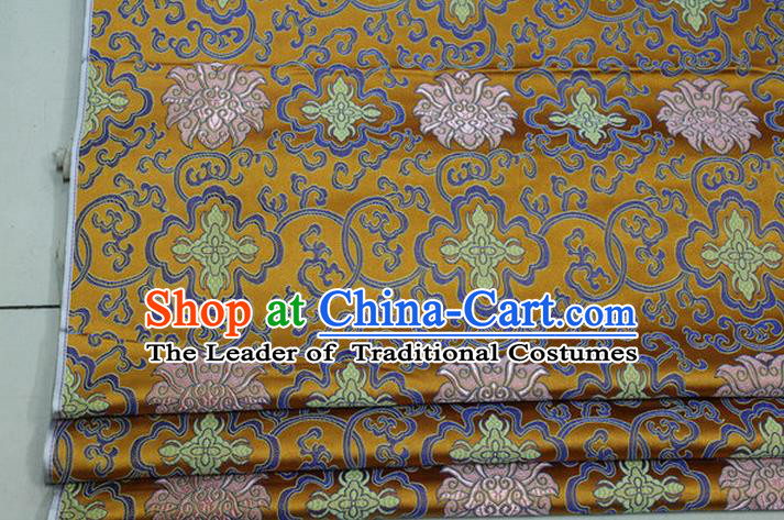 Chinese Traditional Ancient Costume Palace Lotus Pattern Mongolian Robe Cheongsam Golden Brocade Tang Suit Fabric Hanfu Material
