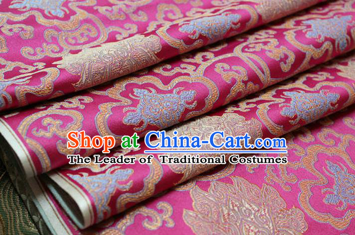 Chinese Traditional Ancient Costume Palace Lotus Pattern Mongolian Robe Cheongsam Pink Brocade Tang Suit Fabric Hanfu Material