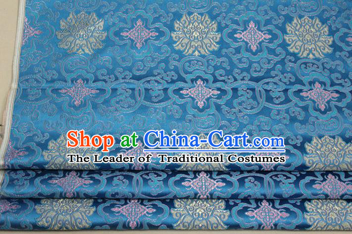 Chinese Traditional Ancient Costume Palace Lotus Pattern Mongolian Robe Cheongsam Blue Brocade Tang Suit Fabric Hanfu Material