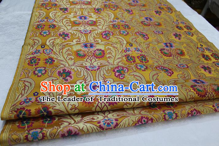 Chinese Traditional Ancient Costume Palace Flower Pattern Xiuhe Suit Golden Nanjing Brocade Cheongsam Satin Fabric Hanfu Material
