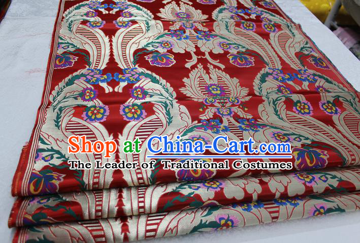 Chinese Traditional Ancient Costume Palace Pattern Mongolian Robe Red Nanjing Brocade Cheongsam Satin Fabric Hanfu Material