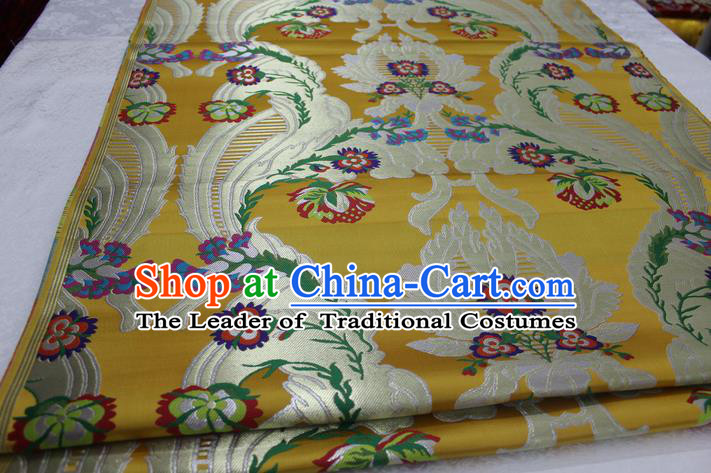 Chinese Traditional Ancient Costume Palace Pattern Mongolian Robe Yellow Nanjing Brocade Cheongsam Satin Fabric Hanfu Material