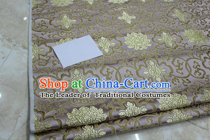 Chinese Traditional Ancient Costume Palace Lotus Pattern Mongolian Robe Cheongsam Lilac Brocade Tang Suit Fabric Hanfu Material