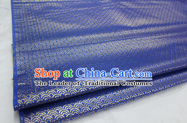 Chinese Traditional Ancient Costume Palace Gold Thread Pattern Blue Brocade Cheongsam Satin Mongolian Robe Fabric Hanfu Material
