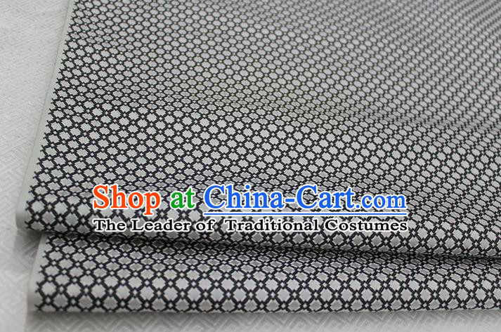 Chinese Traditional Ancient Costume Palace Pattern Grey Brocade Cheongsam Satin Mongolian Robe Fabric Hanfu Material