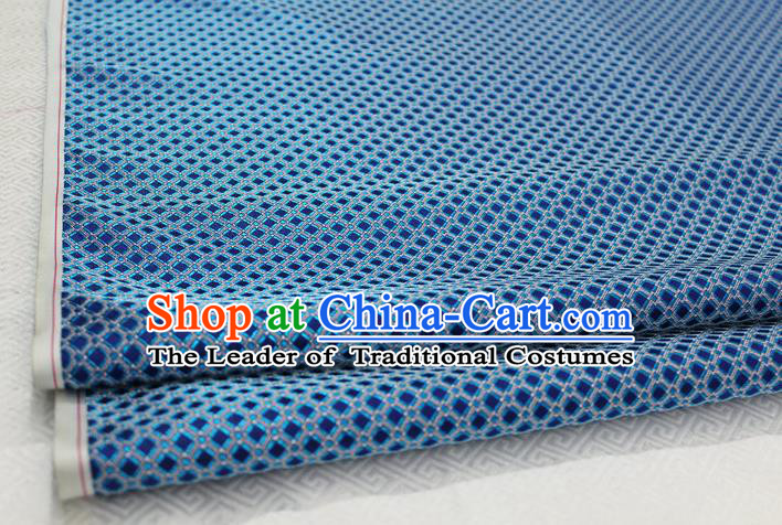 Chinese Traditional Ancient Costume Palace Pattern Blue Brocade Cheongsam Satin Mongolian Robe Fabric Hanfu Material