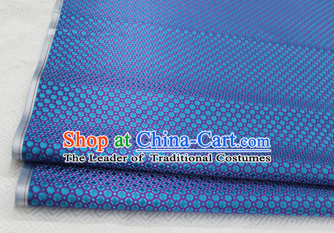 Chinese Traditional Ancient Costume Palace Pattern Lake Blue Brocade Cheongsam Satin Mongolian Robe Fabric Hanfu Material