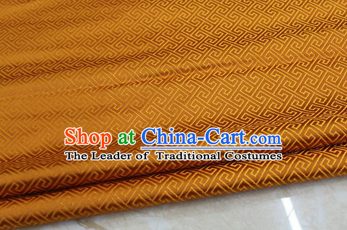 Chinese Traditional Ancient Costume Palace Back Pattern Orange Brocade Cheongsam Satin Mongolian Robe Fabric Hanfu Material