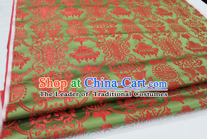 Chinese Traditional Ancient Costume Palace Double Fish Pattern Green Nanjing Brocade Cheongsam Satin Mongolian Robe Fabric Hanfu Material