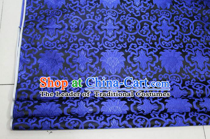Chinese Traditional Ancient Costume Palace Blue Lotus Pattern Mongolian Robe Cheongsam Black Brocade Tang Suit Fabric Hanfu Material