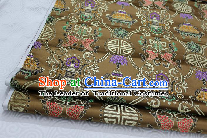 Chinese Traditional Ancient Costume Palace Double Fish Pattern Brown Nanjing Brocade Cheongsam Satin Mongolian Robe Fabric Hanfu Material