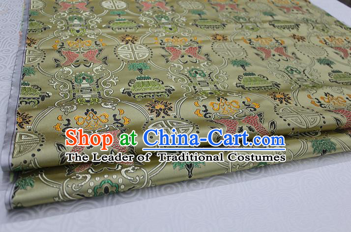 Chinese Traditional Ancient Costume Palace Double Fish Pattern Bronze Nanjing Brocade Cheongsam Satin Mongolian Robe Fabric Hanfu Material