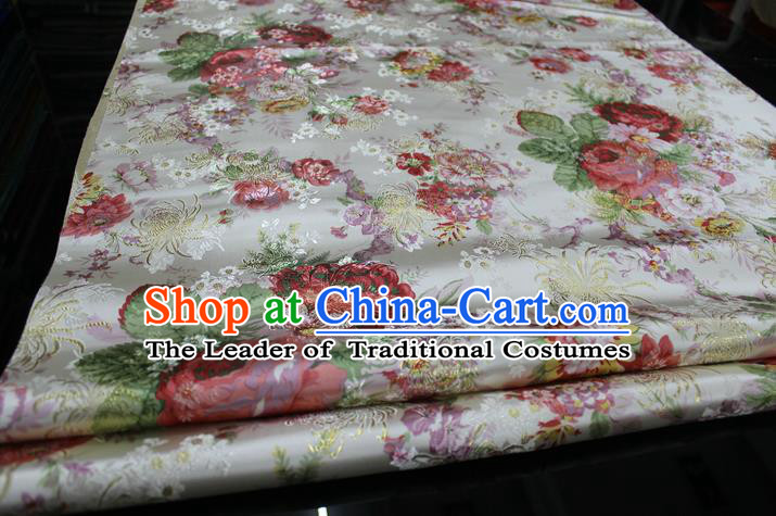 Chinese Traditional Ancient Costume Palace Printing Peony White Nanjing Brocade Cheongsam Satin Mongolian Robe Fabric Hanfu Material