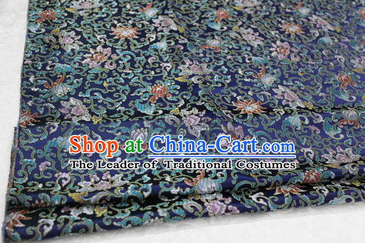Chinese Traditional Ancient Costume Palace Pattern Deep Blue Nanjing Brocade Cheongsam Satin Mongolian Robe Fabric Hanfu Material