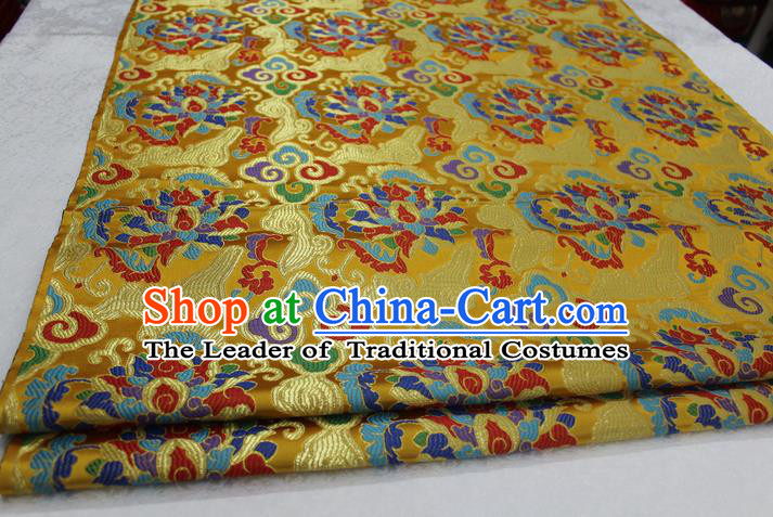 Chinese Traditional Ancient Costume Palace Auspicious Clouds Pattern Golden Nanjing Brocade Cheongsam Satin Mongolian Robe Fabric Hanfu Material