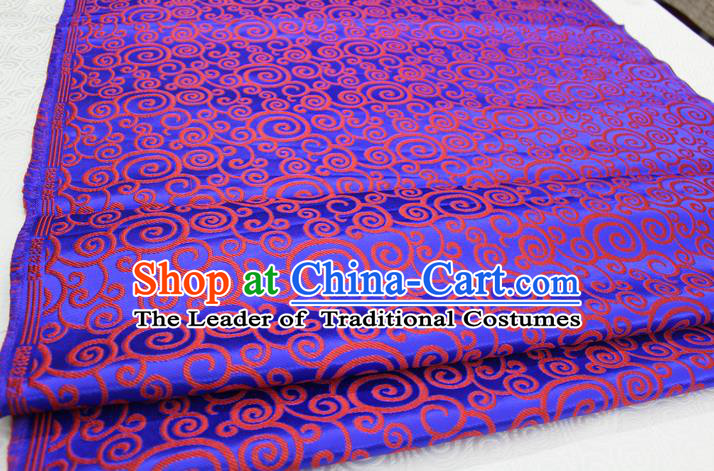 Chinese Traditional Ancient Costume Palace Clouds Pattern Royalblue Brocade Cheongsam Satin Mongolian Robe Fabric Hanfu Material